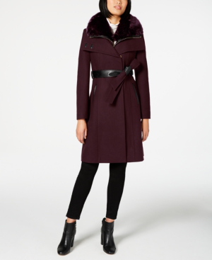 French Connection Faux-fur-collar Belted Coat With Faux-leather Trim In Wine
