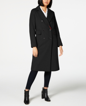 French Connection Double-breasted Coat In Black