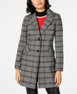 French Connection Single-breasted Plaid Coat In Black/white Plaid