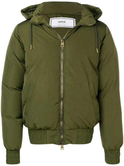 Ami Alexandre Mattiussi Hooded Down Jacket In Green
