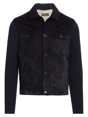 Loro Piana Mixed Media Suede & Cashmere Jacket In Navy