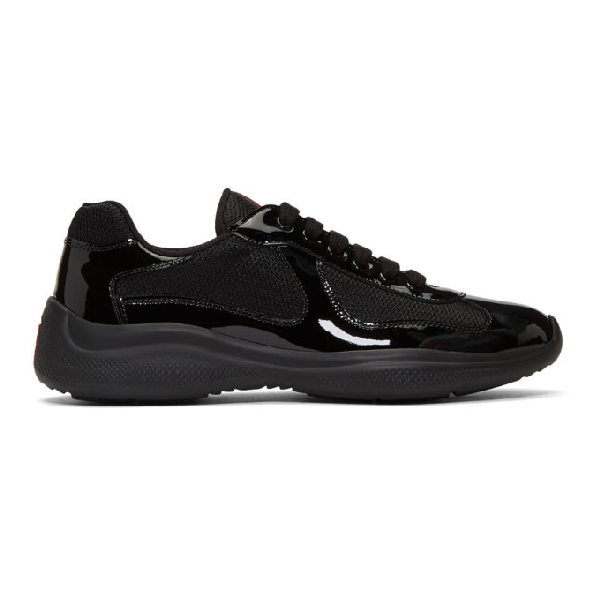 Prada Men's America's Cup Patent Leather Patchwork Sneakers In Black