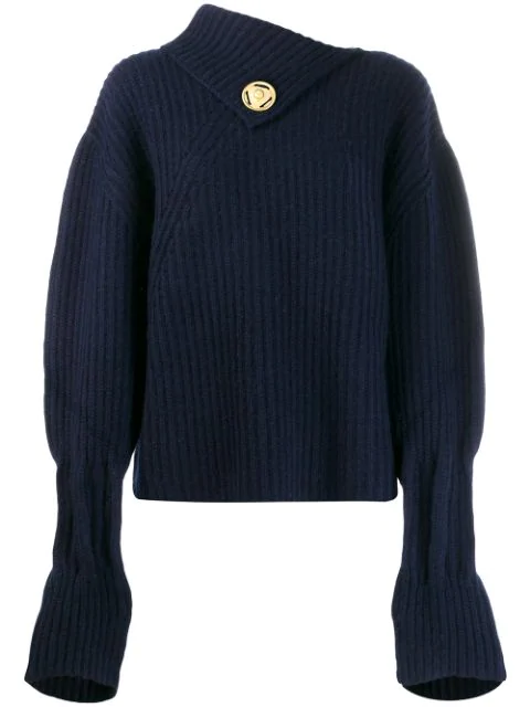 Jw Anderson Draped-neckline Ribbed Wool-blend Sweater In Blue