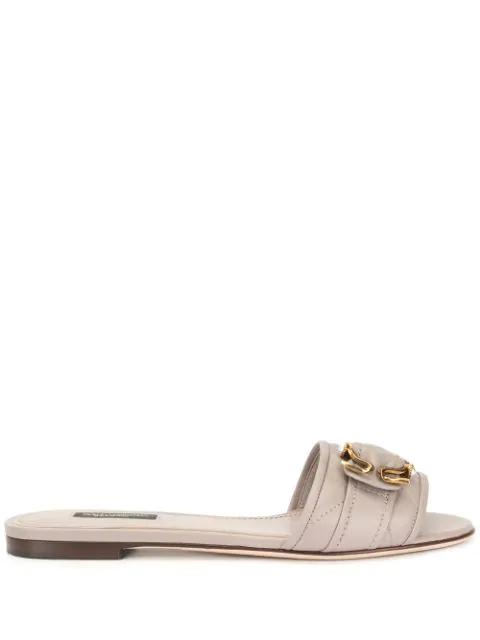 Dolce & Gabbana Flat Embellished Slides In Grey