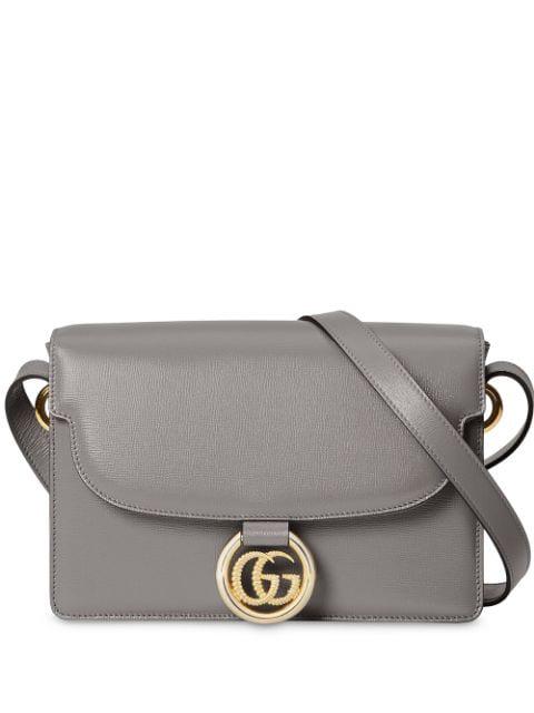 Gucci Double G Pendant Shoulder Bag In Grey