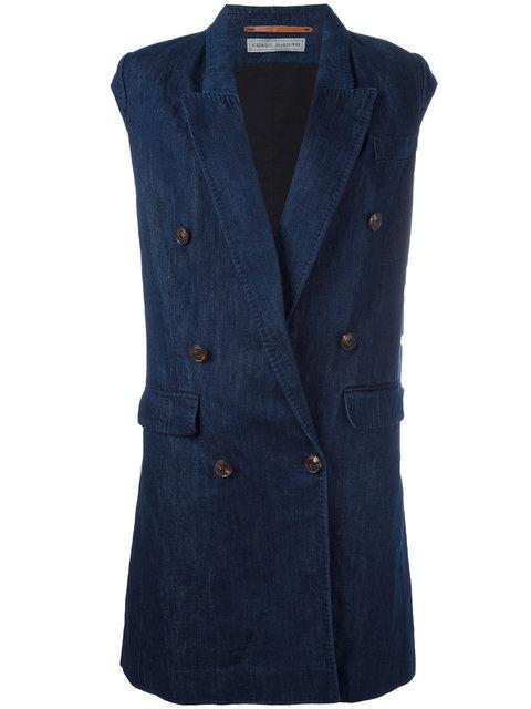 Veronique Branquinho Double Breasted Waistcoat - Blue