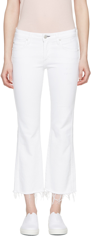 Amo White Kick Crop Jeans In Sea Salt