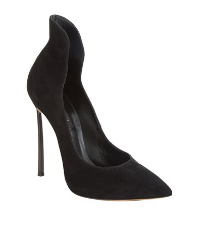 Casadei Blade Collar Suede Pump In Black