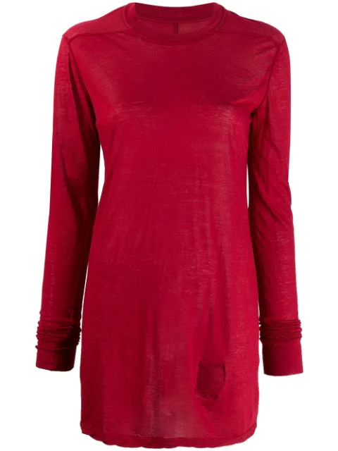 Rick Owens Drkshdw Long Sleeved Cotton T In 03 Cherry