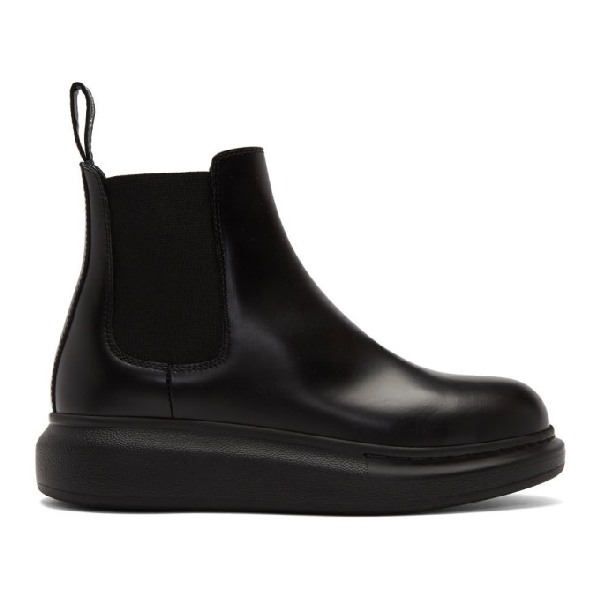 Alexander Mcqueen Glossed-leather Exaggerated-sole Chelsea Boots In 1000 Black/