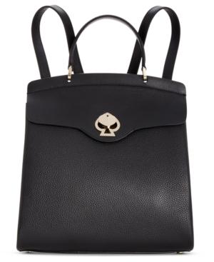 Kate Spade Medium Romy Twistlock Leather Backpack In Black/Gold