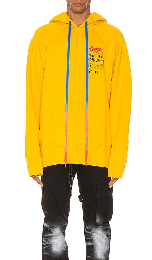 Off-White Industrial Y013 Incompiuto Hooded Sweatshirt In Yellow In Yellow & Black