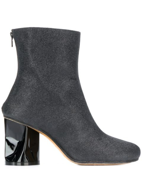 Maison Margiela Crushed-heel Gitter Ankle Boots In Black