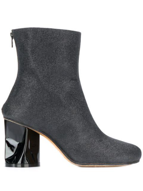 Maison Margiela Crushed-heel Gitter Ankle Boots In Black