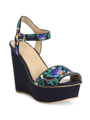 746774ecb Tory Burch Sonoma Embroidered 120Mm Wedge Sandal