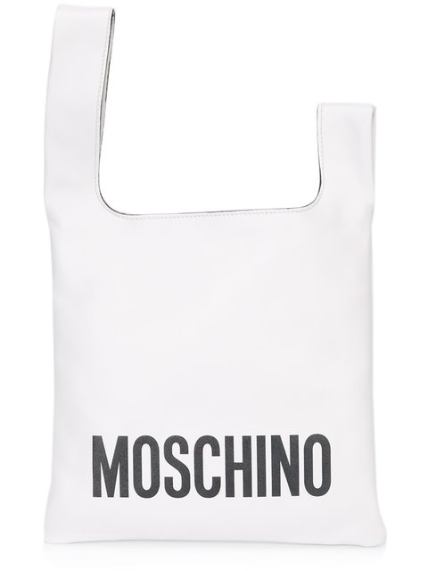 Moschino Logo Tote In White