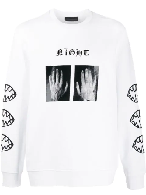 Diesel Black Gold Printed Long Sleeve Sweatshirt In White