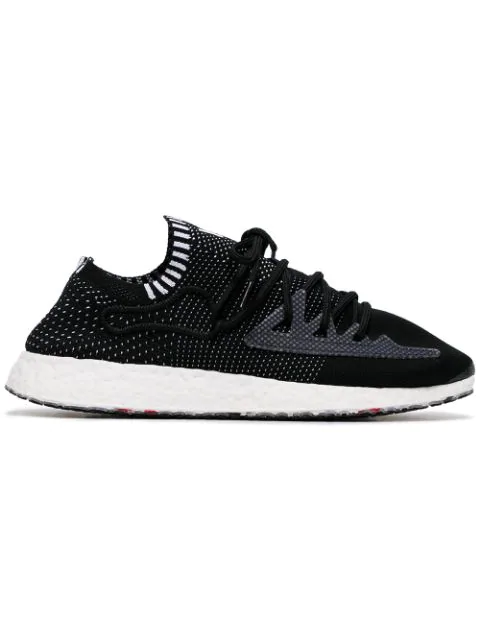 Y-3 Black Raito Racer Logo Embroidered Low Top Sneakers