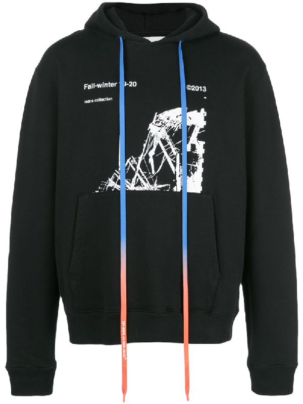 Off-White Ruined Factory Printed Cotton-Terry Hooded In Black