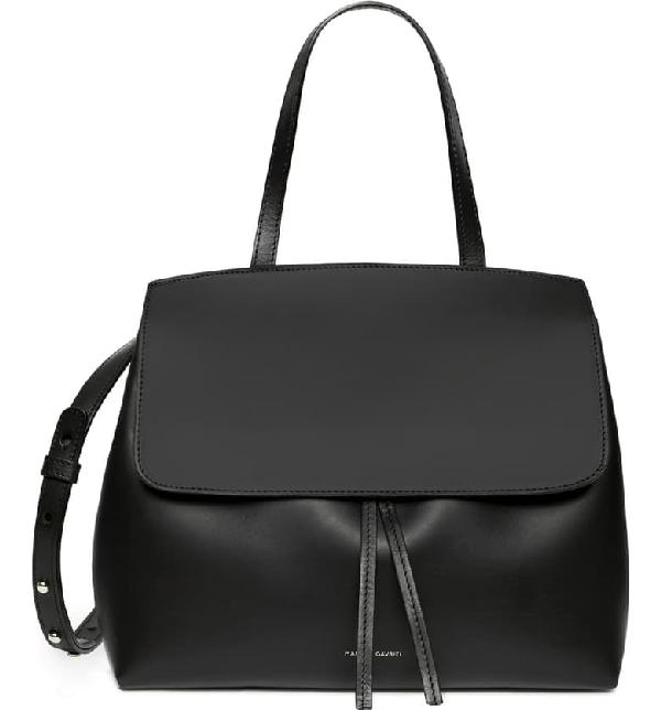 Mansur Gavriel Vegetable-Tanned Leather Mini Lady Bag In Black/ Flamma