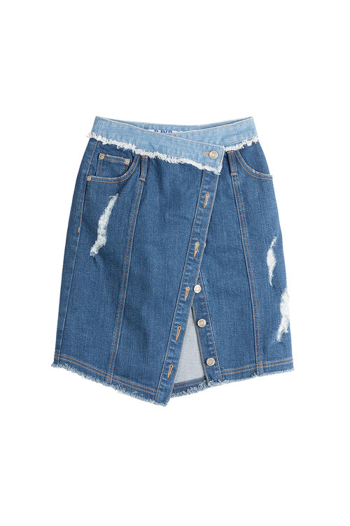 Sjyp Asymmetric Denim Skirt In Blue