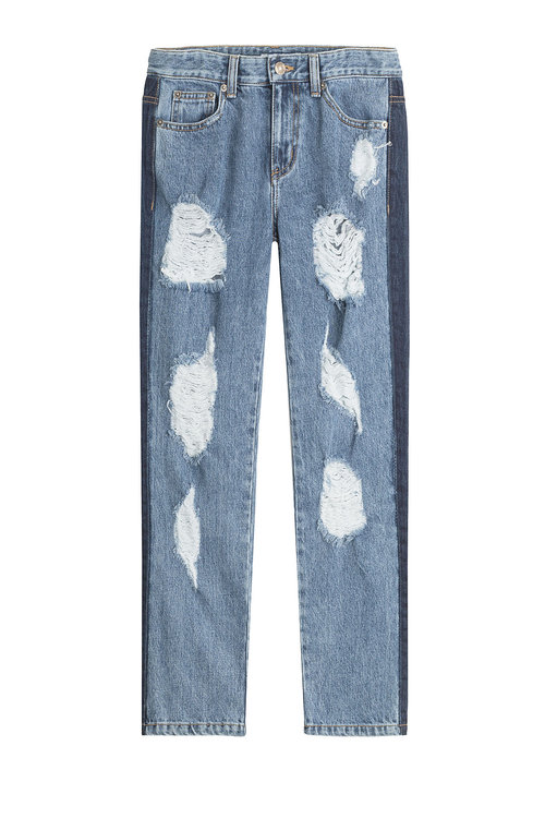 Sjyp Distressed Sid Straight Leg Jeans With Cropped Ankle In Blue