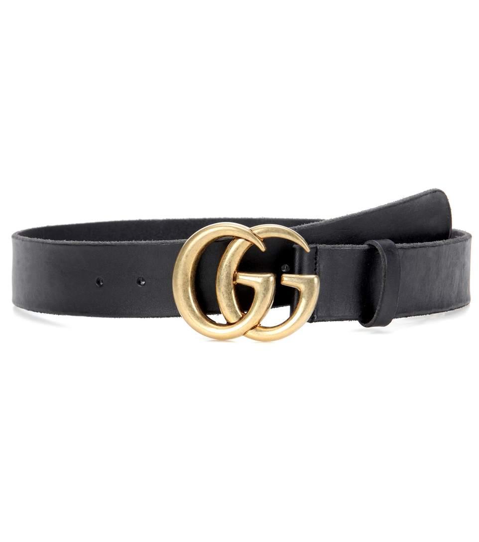 Gucci Embellished Leather Belt In Black