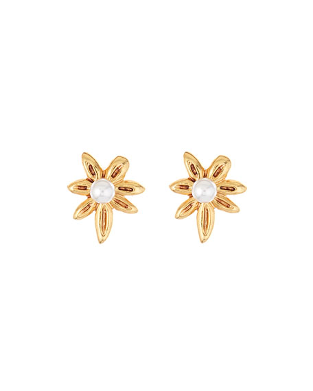 Oscar De La Renta Stars Pearly Stud Earrings In Gold
