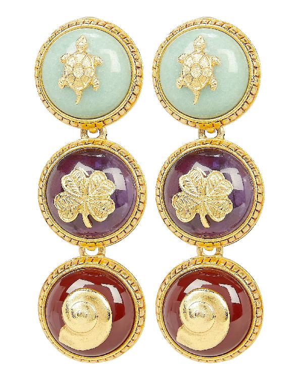 Oscar De La Renta Triple Disk Clip-On Earrings In Multi