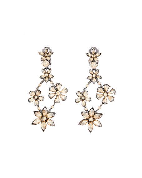 Oscar De La Renta Crystal Star Chandelier Earrings In Gold