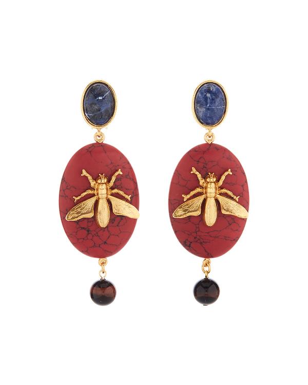 Oscar De La Renta Oval Fly-Stone Clip Earrings In Red