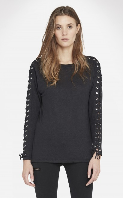 Iro Lace-up Sleeve Linen Tee In Black