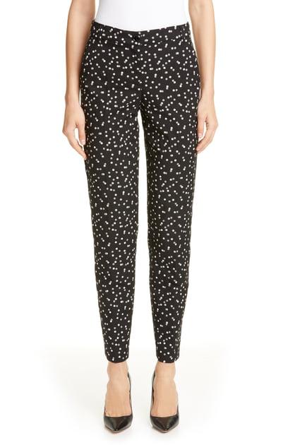 Armani Collezioni Emporio Armani Dotted Straight-leg Pants In Black/ White