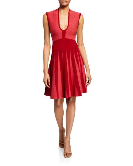 Armani Collezioni Emporio Armani Sleeveless Knit Fit-and-flare Dress In Pink