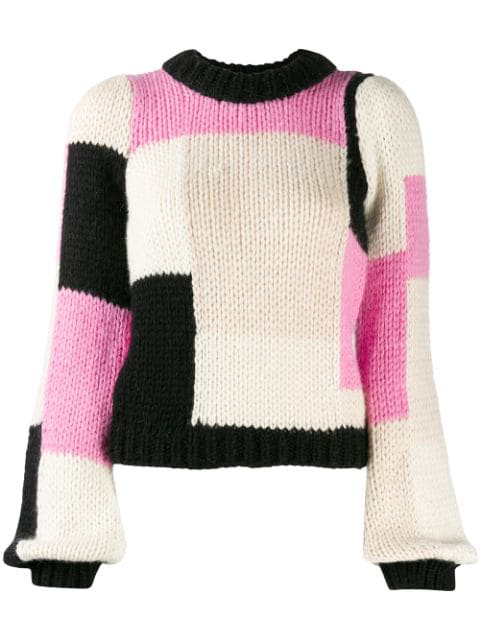 Ganni Hand Knit Wool Puff Pullover In Pink