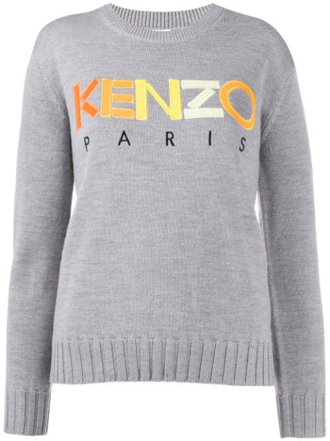 Kenzo Embroidered Logo Sweater In 94 Grey