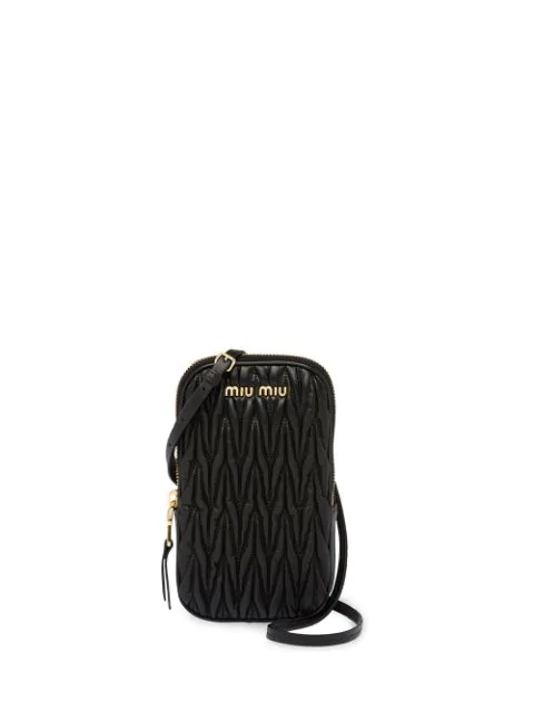 Miu Miu Matelassé Mini Shoulder Bag In Black