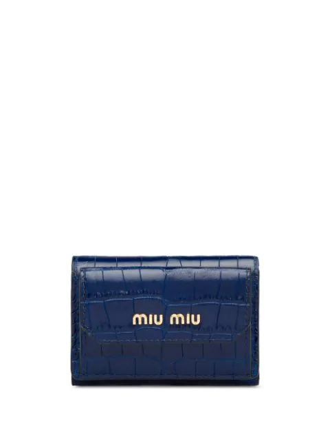 Miu Miu Logo Plaque Crocodile-effect Wallet In Blue