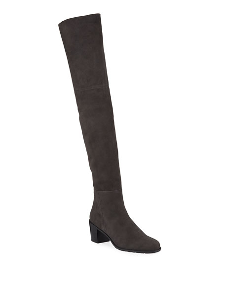 Stuart Weitzman Fifo Suede Stretch Over-The-Knee Boot In Black