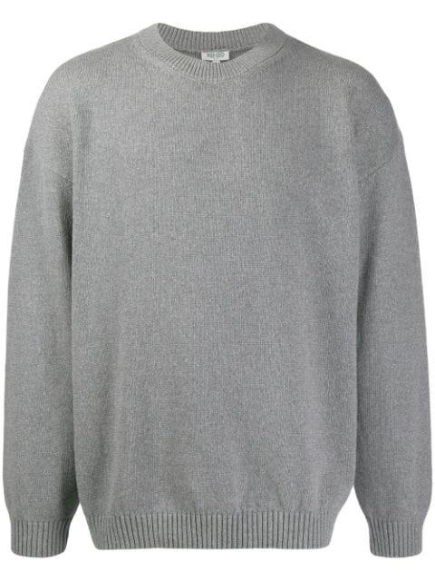 Kenzo Intarsia Knit Logo Jumper In 93 Grey