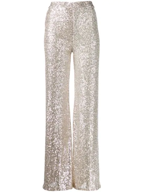 L'autre Chose Sequin High Waisted Trousers In Neutrals