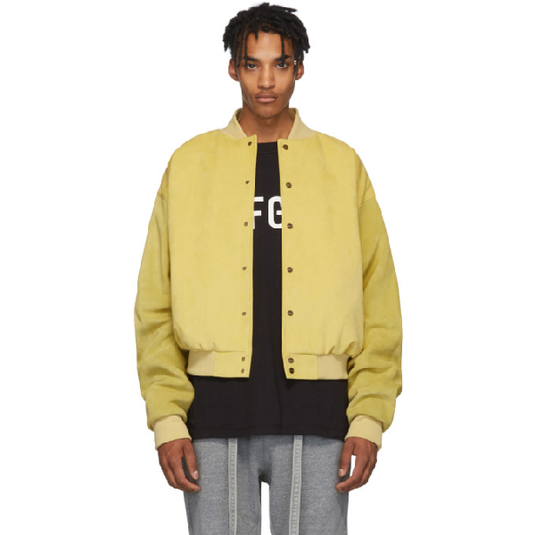 Fear Of God Yellow Suede Sixth Collection Varsity Jacket In 705Ggylw
