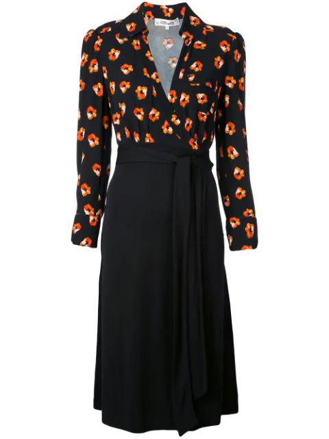 Diane Von Furstenberg Angelina Wrap Dress In Black