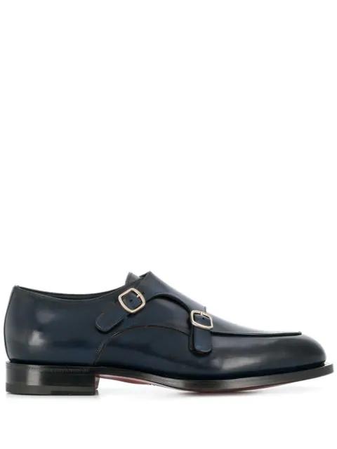 Santoni Wilson Double Strap Monk Shoes In Blue