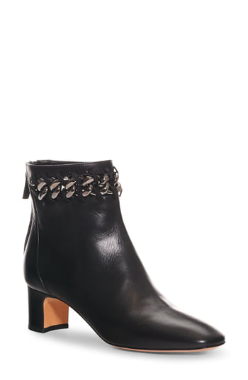 Valentino Garavani Metal-weave Leather Block Heel Booties In Black Leather