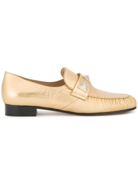 Valentino Rockstud Metallic Leather Loafer, Gold