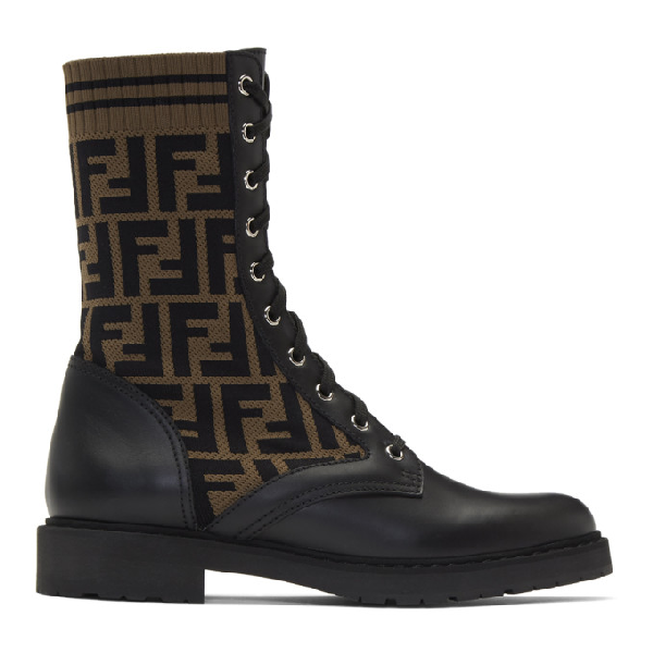 Fendi Rockoko Logo Sock Lace-up Combat Boot In F0pmm Multi