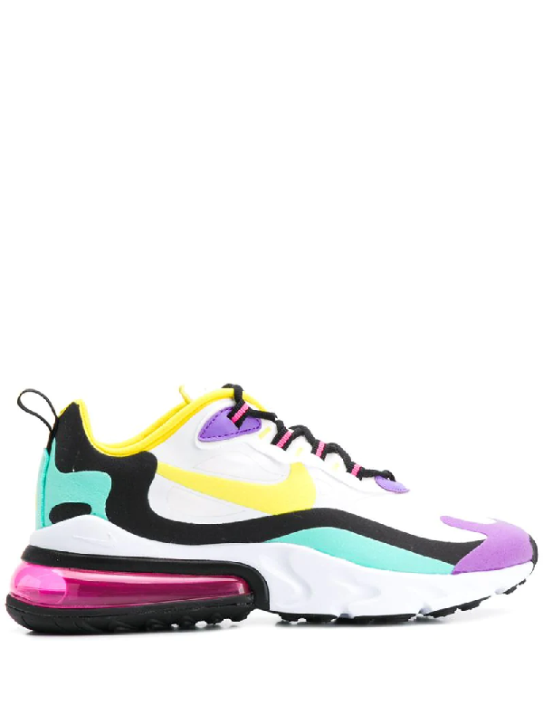 Nike Air Max 270 React Felt And Ripstop Sneakers In 101 White/Dynamic Yellow Black