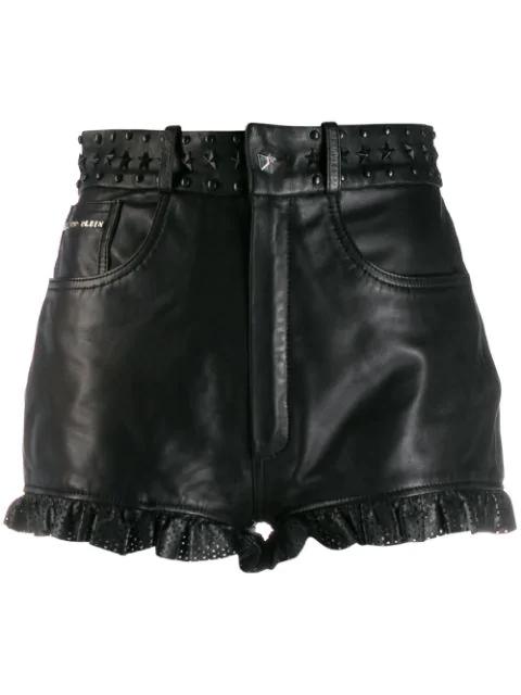 Philipp Plein Laser Cut Shorts In Black
