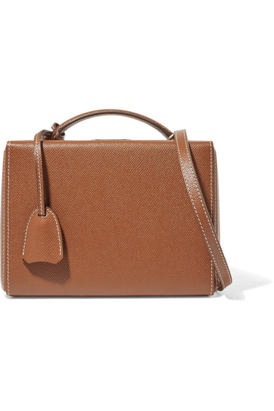 Mark Cross Grace Small Textured-leather Shoulder Bag In Brown